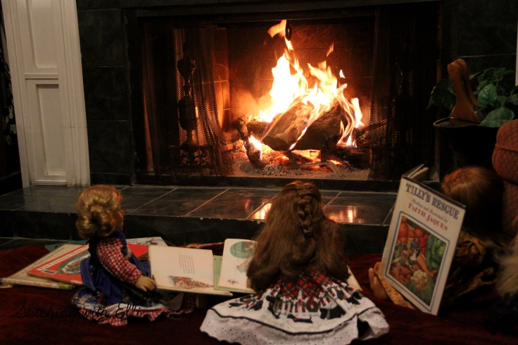 Reading Christmas books by the fire- Christmas with the american girls by Stitching with Elli
