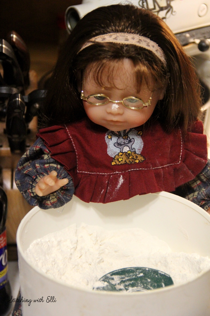 """Maggie gets into the flour and makes a mess!!- a 18"""" doll adventure by Stitching with Elli"""