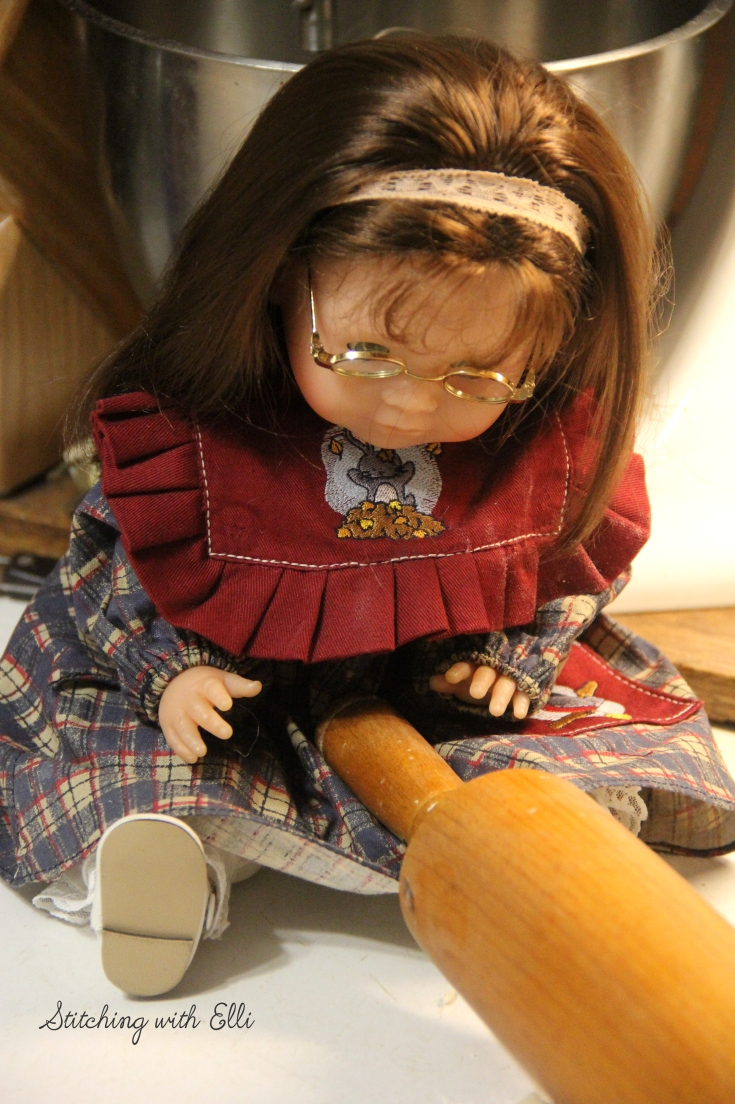 "Maggie helps roll out the pie dough- a 18"" doll story by Stitching with Elli"