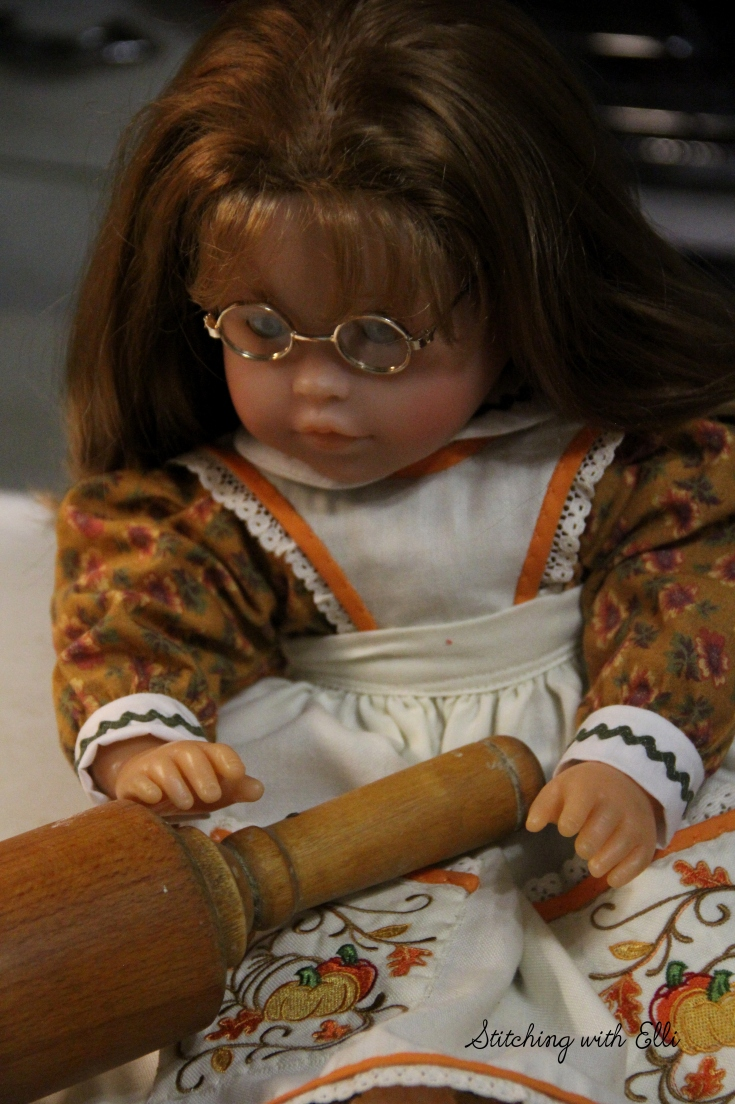 """Ellen is making pie crusts- a 18"""" doll story by Stitching with Elli"""