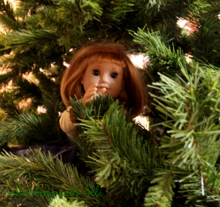 Nellie is hiding in the Christmas tree!- an American girl doll photostory by Stitching with Elli