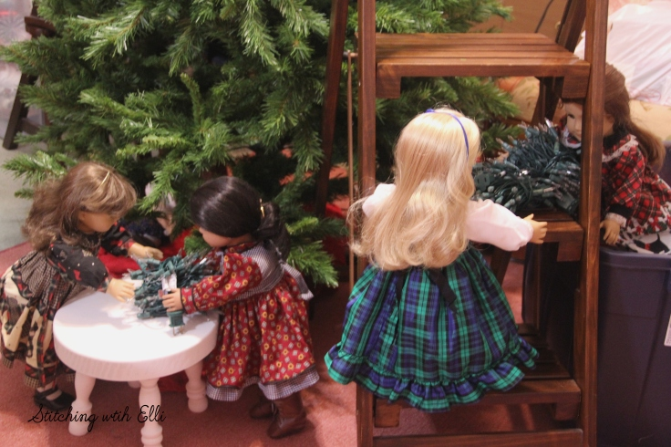 Getting ready to put lights on the tree!- a Stitching with Elli story with American girl and Gotz dolls