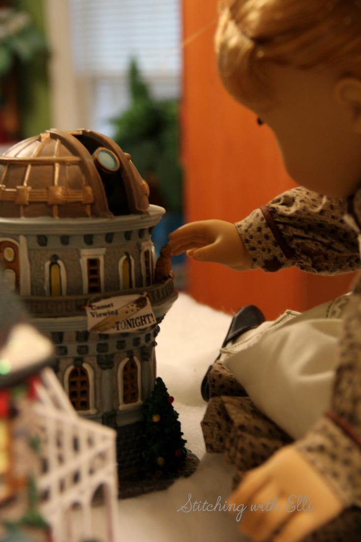 Setting up a Christmas village! Maryellen loves the little owl on the observatory - by Stitching with Elli