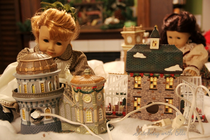 Setting up a Christmas village! Ruthie and Maryellen are hard at work- by Stitching with Elli