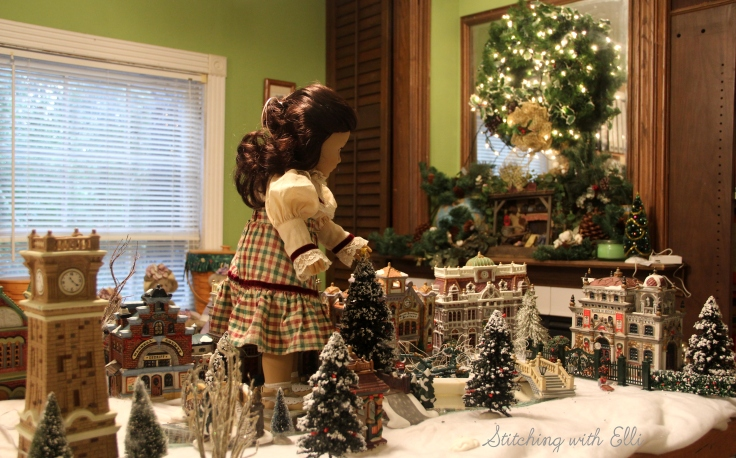 Setting up a Christmas village!- an american Girl christmas story by Stitching with Elli