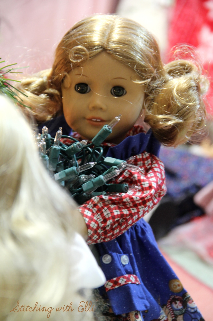 Bridget is ready to help put up more lights- an American Girl Christmas story by Stitching with Elli