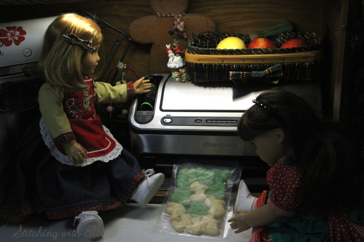 Sealing up Christmas cookies to ship- American girl photo story by Stitching with Elli