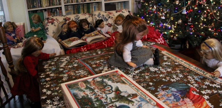 A busy December afternoon- a Christmas story by Stitching with Elli featuring American girl dolls