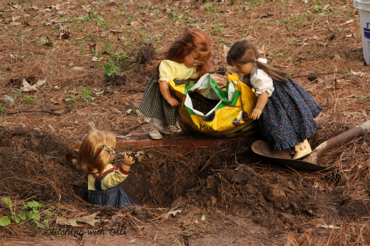 "Adding the potting soil to the hole, the dolls plant a garden- a 18"" doll adventure by Stitching with Elli"