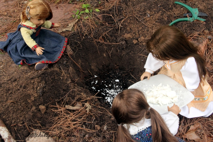 "Adding egg shells for fertilizer  to the hole, the dolls plant a garden- a 18"" doll adventure by Stitching with Elli"
