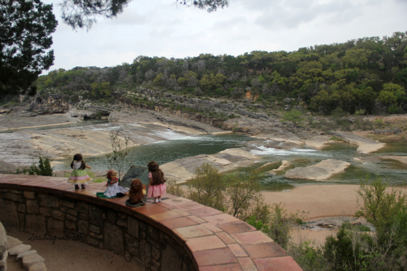 "The Dolls visit Pedernales Falls state park TX- a 18"" doll story by stitching with Elli"