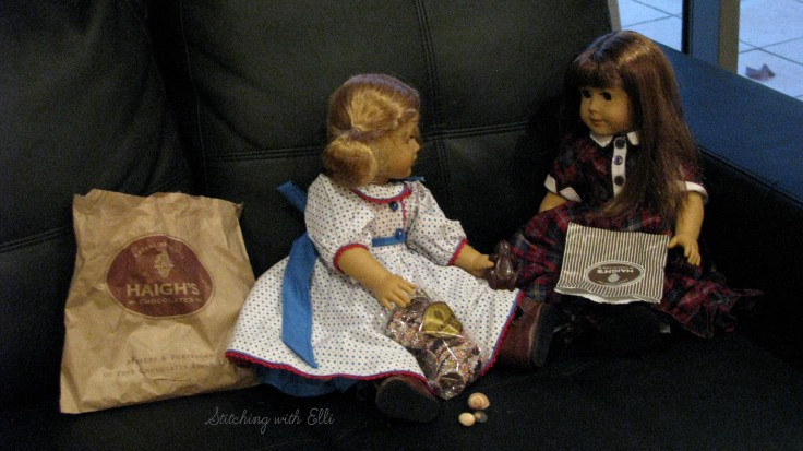 The Dolls enjoy Haigh's chocolate in Adalaide Australia- see the whole story on my blog www.stitchingwithelli.com
