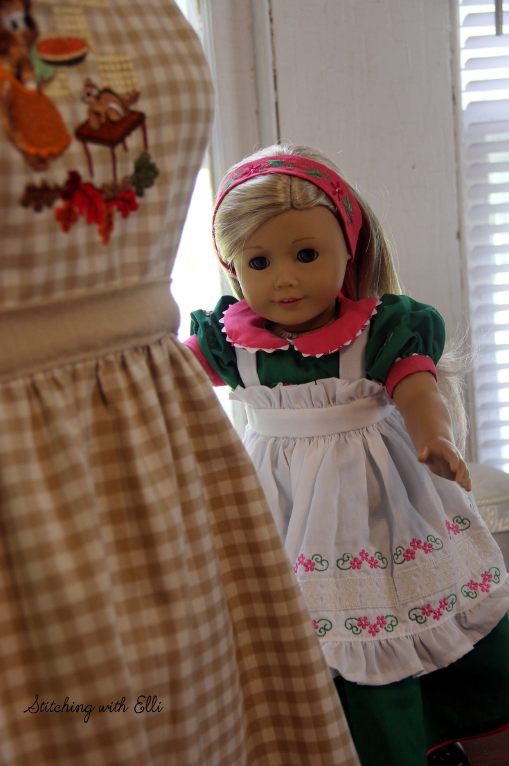 "The dolls are sewing again! - read this and other 18"" doll adventures on my blog www.stitchingwithelli.com"