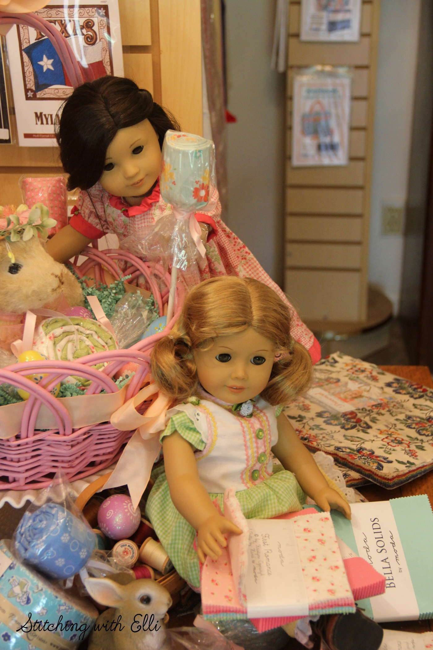 Dolls in a sewing store- see the whole story on www.stitchingwithelli.com