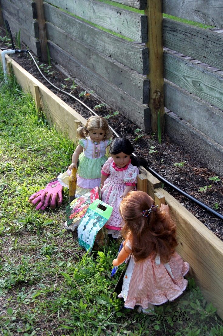 The american girl dolls plant in the garden- see the whole story on www.stitchingwithelli.com